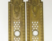 RESERVED FOR LEA Pair of Brass Finger Plates, Brass Push Plates, Door Furniture, Door Plate, French Finger Plate, French Door Plate 4351