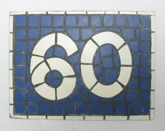 House Number Plate No. 60, Original French Blue and White Sign, Mosaic Signs, French Signs, French House Number Plate, Blue and White (082)
