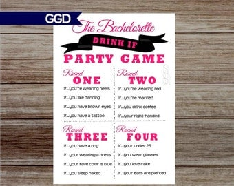 INSTANT DOWNLOAD Drink If Bachelorette Party Game, drink if game, lingerie shower game, bachelorette party, hens party, printable game