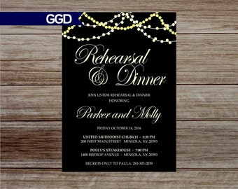 Rehearsal Dinner Invitation with Lights, rehearsal and dinner invite, wedding rehearsal dinner invitation-Printed or Digital File