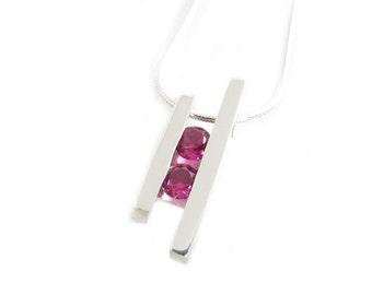 Ruby Necklace Pendant - Channel Set Gemstone Necklace - Rubies Necklace - Two Gemstone Necklace- Mother's Pendant - Birthstones - Red Gem