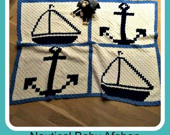 C2C Graph, Nautical Baby Afghan - C2C Graph and Written Word Chart