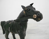 Vintage Leather Horse - Glass Eyes - Black Leather Horse