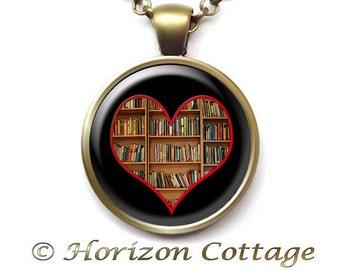 Book Lover Gift, Book Pendant, Book Jewelry, Fundraiser Item, Gift for Reader, Library Shelves, Gift for Librarian, Library Fundraiser