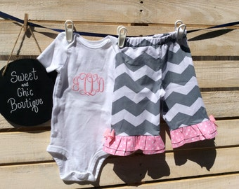 Monogramed Outfit , Monogramed Baby Outfit, Monogramed Outfit  with Pants