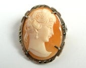 Vintage Silver Cameo Shell Brooch Pin Pendant Marcasites Carved Shell Cameo 800 Silver