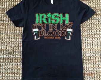 Irish...It's In My Blood (Alcohol Level) Men's Black Shirt