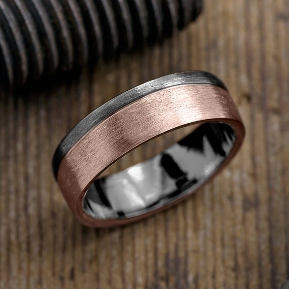 6mm mens wedding band 14k rose gold rhodium plated sterling silver