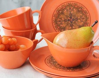 1960's Goovey Orange Melmac Dinnerware, Coffee, Tea Set
