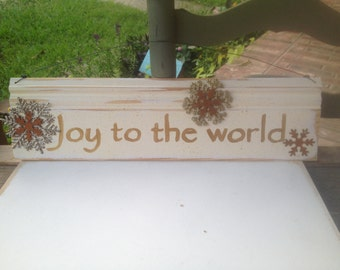 Ivory and Gold Joy To The World Hanger, Embellised Christmas Signs, Christmas Home Decor