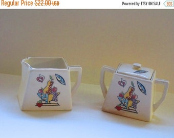 MOVING SALE Vintage Ceramic Deco Style Sugar and Creamer Set