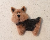 Needle Felted Norwich Terrier - Dog - Tan and Black - Red Dog - Miniature Puppy Brooch - Dog Magnet - Dog Pin - by Marina Lubomirsky