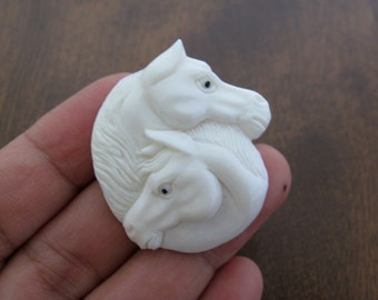 Intricate carved Two horse heads,  Buffalo bone carving, Bovine,  Jewelry making Supplies S7151