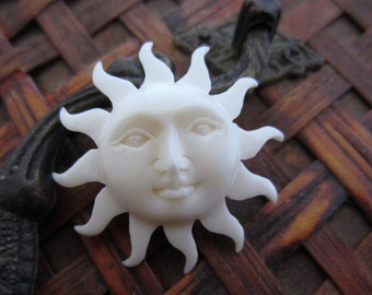 Hand Carved  Bone cabochon, Embellishment  Sun Face with open eye , buffalo Bone carving, Jewelry making supplies S6074
