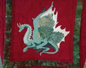 Shoulder Bag / Quilted Dragon Purse / Fantasy Art /  Green Dragon