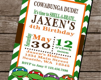 TMNT INSPIRED Teenage Mutant Ninja Turtle Happy Birthday Party or Baby Shower Invitations Set of 12 {1 Dozen} - Party Packs Available
