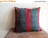 """ON SALE Cotton batik,18""""x18""""Vintage Textile Decorative Cushion cover, Tradition Ethnic fabric from Thailand"""
