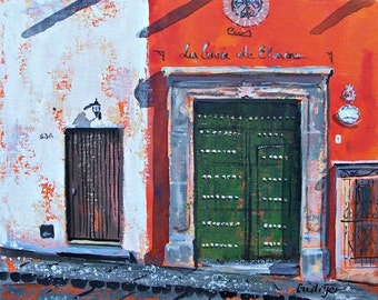 """Original painting of a red wall with green weathered door in San Miguel de Allende acrylic art on canvas board 11 """"x 14"""""""