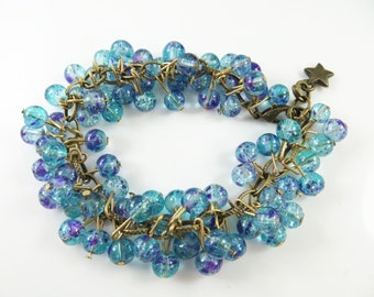 "Blue and purple cha cha bracelet   ( 7 1/2"")"
