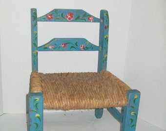 Vintage Tole Doll Chair Hand Painted Wood Turquoise Blue Chair Rush Seat