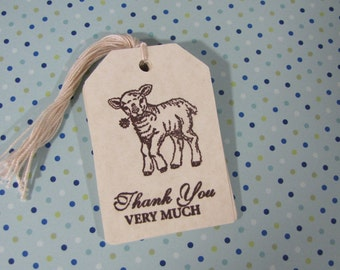 Lamb Thank You Very Much Tags Baby Shower set of 10