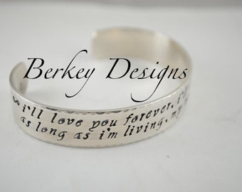 Keepsake Sterling I'll Love You Forever Custom Two Sided Secret Message Hand Stamped Bracelet