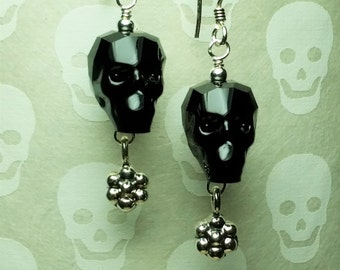 Dia de los Muertos - Swarovski Crystal Skull Earrings - Jet Black Crystal Skull Earrings