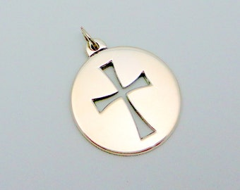Vintage James Avery Disc Cut Out Sterling Silver Cross Pendant Retired