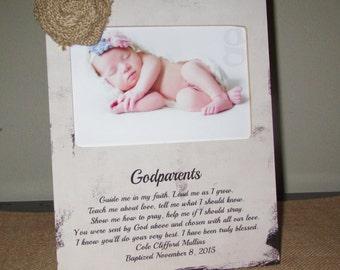 Personalized Godparent Gift Godparent Sign Gift for Godparents Picture Frame Baptism Christening Gift Godparent Poem