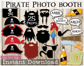 Pirate Photo Booth Props, Pirate Party, Pirate Birthday,  Mustaches, Pirate Hat, Speech Bubles, Funny Props, Instant Download Printables