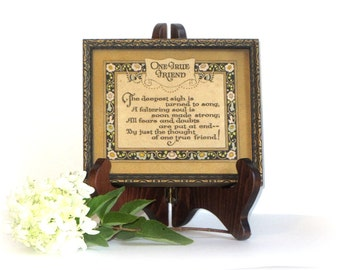 One True Friend Motto Friendship Verse Framed Poetry BFF Birthday Gift Wedding Present Wall Hanging