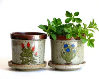 Takahashi Speckled Ceramic Floral Planter Set Blue and Orange Flowers Greenery San Francisco Pottery Herb Pots Succulents Cacti