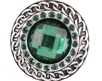 1 PC - 18MM Green Rhinestone Silver Snap Candy Charm KB6903 Cc2070