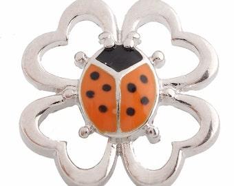 1 PC - 18MM Orange Ladybug Enamel Candy Snap Charm Silver Tone kc6096 CC2689