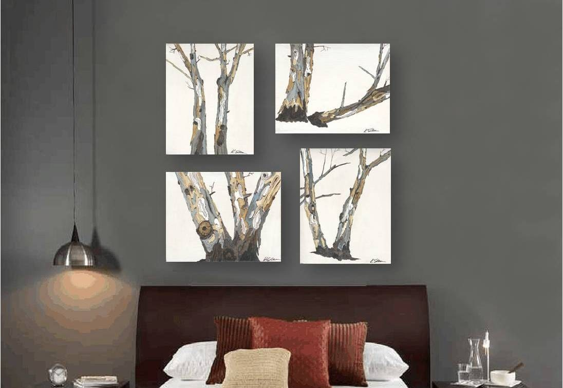 Large wall art set tree trunks gift him men white artwork for Large paintings for dining room