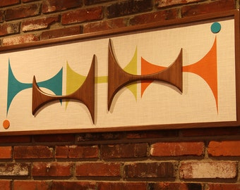 Mid Century Modern Abstract Wall Art Sculpture Painting Atomic Retro Eames Era
