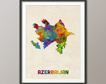 Azerbaijan Watercolor Map, Art Print (2394)