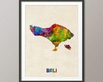 Bali Indonesia Watercolor Map, Art Print (2480)