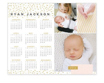INSTANT DOWNLOAD - 8x10 Calendar template 2016 - E1178