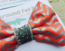 Coral Silver Chevron - Bow Tie - Dog Bowtie - Red Green - Rescue Dog Photography - Dog Collar - Velcro Attachment