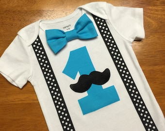 Mustache Birthday Outfit, Little Man Mustache Birthday Shirt, Boys Cake Smash, Boys Bow Tie Mustache Turquoise black Polka Dot suspenders