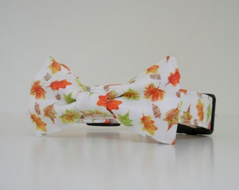 Bow Tie Dog Collar Watercolor Autumn Leaves Thanksgiving Fall Collar Made to Order