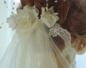 Wedding Veil, Elbow Length Veil, Single Tier Veil, Lace Pearl Edge, Pure Silk Flower Comb, REX15-3035