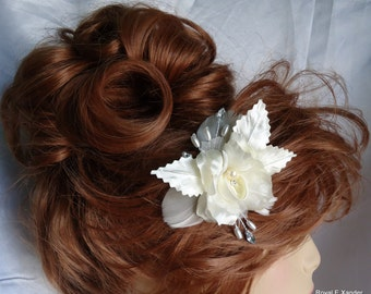Ivory Flower, Wedding Hair Clip, Ivory Orchid Fascinator, Bridal Hair Accessory, REX16-381