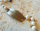 Bracelet Handmade Free Spirit Natural Stone Antique Bronze