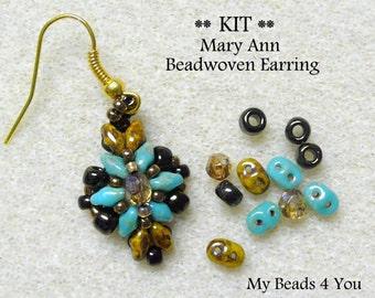 PDF Tutorial Beadwoven Earrings, SuperDuo Earring Kit, Seed Bead Earrings Kit, Earring Tutorial, Beadwork Tutorial, Beadwoven Earrings,Kit