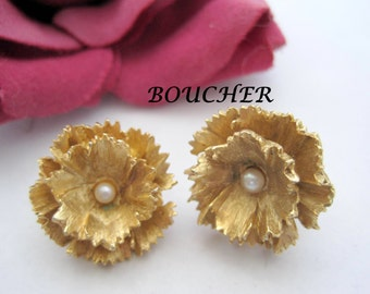 Marcel Boucher Earrings - Pearl Centered -  Signed Numbered - Wedding Clip Ons