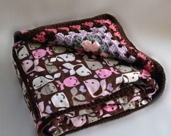 Brown whale reversible blanket, crochet baby blanket, nursery decor, baby blanket, granny square baby blanket, afghan, travel blanket