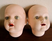 Vintage Porcelain Doll Heads - Painted with Eyes