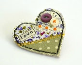 Heart shaped brooch Heart pinback Heart badge purple  green heart Fabric heart brooch Textile heart pin Love heart Valentines gift